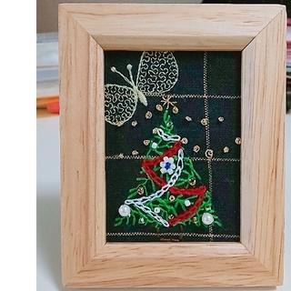 ミナペルホネン(mina perhonen)のミナペルホネン クリスマスツリー 刺繍 ハンドメイド 写真たて 壁掛け(アート/写真)