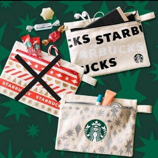 Starbucks Coffee - ♡2種セット♡ スターバックス ノベルティ ポーチ ブラック シルバー