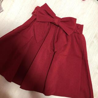 ユメテンボウ(夢展望)の新品サイズMフレアスカートバックリボン、ボルドー赤色(ミニスカート)