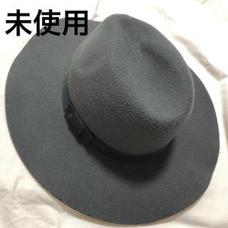 ジーナシス(JEANASIS)のレディース フェルト ハット 帽子 リボンベルト グレー 美品(ハット)