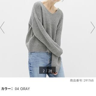 GU - ジーユー GU ラメVネックセーター グレー XL