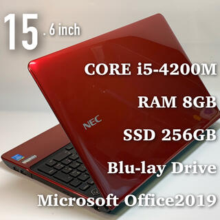 エヌイーシー(NEC)の美品・妖艶な赤と黒のコントラスト/i5/メモリ8G/SSD256G/オフィス(ノートPC)