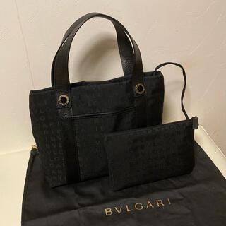 BVLGARI - 【美品】ブルガリ トートバッグ ハンドバッグ ロゴマニア ブラック