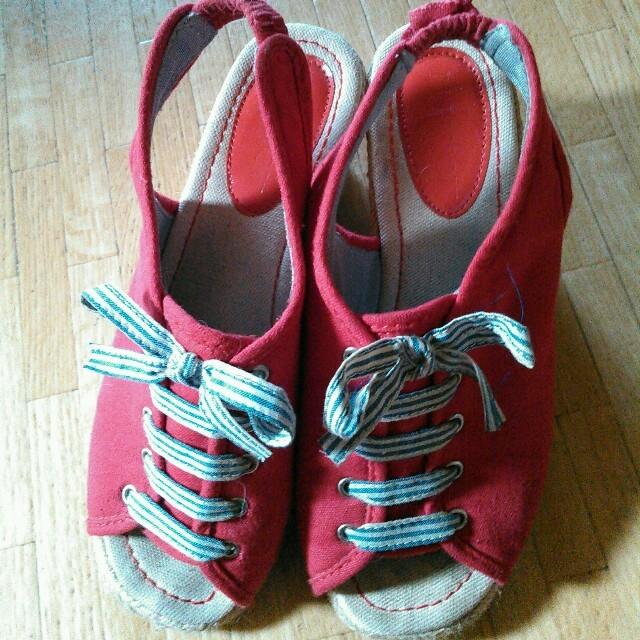 赤の厚底サンダル レディースの靴/シューズ(サンダル)の商品写真