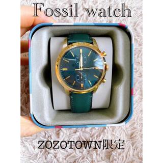 フォッシル(FOSSIL)のFOSSIL フォッシルウォッチ レザーベルト緑×金 ZOZO限定(腕時計(アナログ))