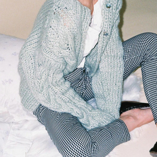 Bibiy. ♡ mint green cable knit cardigan