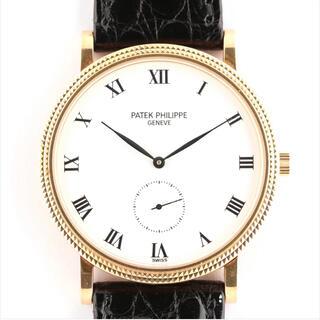 パテックフィリップ(PATEK PHILIPPE)の【美品】パテックフィリップ カラトラバ 3919J 750×革 手巻き 白文字盤(腕時計(アナログ))