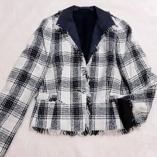 K.T KIYOKOTAKASE ツイード ジャケット チェック 羊毛/アンゴラ(テーラードジャケット)