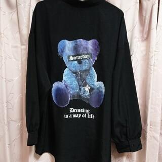 量産型 病みかわいい クマ柄 シャツ ブラック