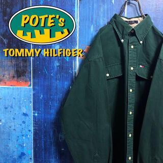 TOMMY HILFIGER - 【トミーヒルフィガー】フラッグ刺繍ロゴダブルポケットボタンダウンシャツ 90s