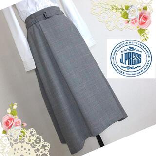 J.PRESS LADIES - Jプレスレディース(9号)ベルト付ふんわりチェックスカート