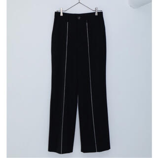 MORSE/ BLACK WOOL GABARDINE PIN TROUSERS