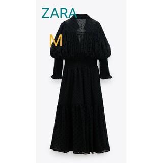 ZARA - ZARA タグ付きスイスドット柄ミディ丈ワンピース 黒 M 水玉