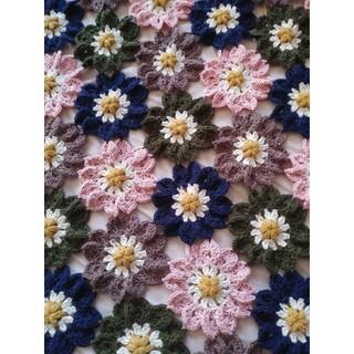 ハンドメイド*かぎ針編みお花のマルチカバー*大判