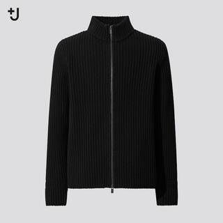 UNIQLO - UNIQLO+Jミドルゲージリブフルジップセーター 黒 ブラック L