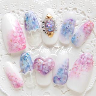 紫陽花♡ハート&ブローチネイル