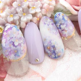 紫陽花♡変形フレンチネイル