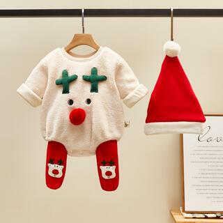 クリスマス キャラクター衣装 ロンパース  ベビー服  3点セット 90cm