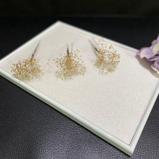 1 髪飾り かすみ草 3本セット プリザ 結婚式 成人式 ゴールド 再出品