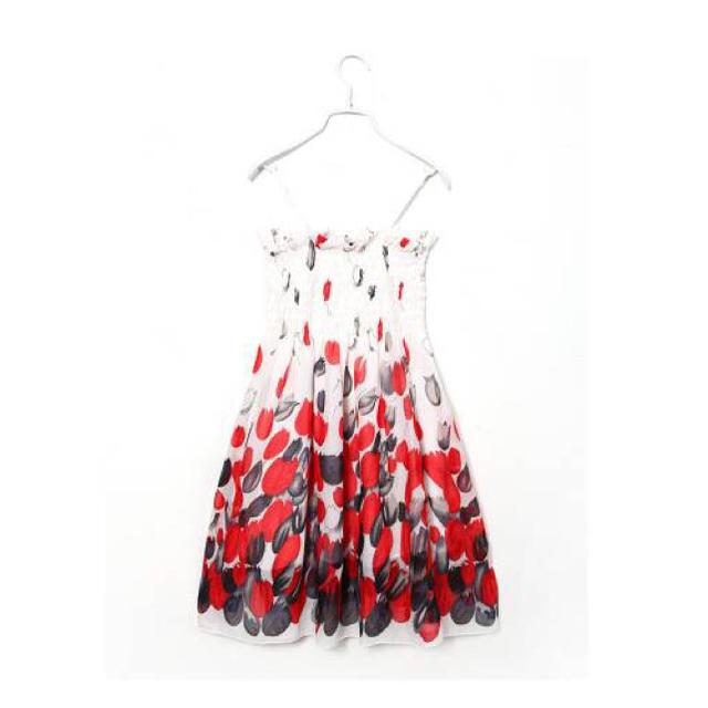 夏新作 シフォン花柄 ワンピース 赤 M レディースのワンピース(ミニワンピース)の商品写真