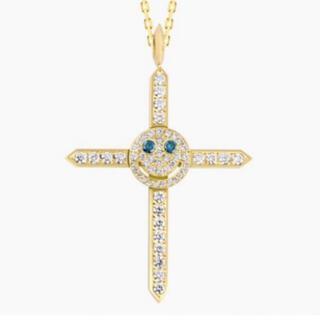 EYEFUNNY - アイファニー 18k YG ダイヤモンド スマイル クロス ネックレス