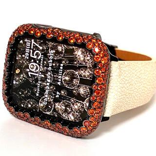 アップルウォッチカスタムカバーベルトセット シャンパンオレンジ×スティングレイ(腕時計(デジタル))