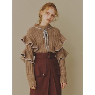 Lily Brown - リリーブラウン 配色フリルニット プルオーバー セーター ブラウン ベージュ