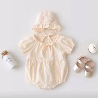 petit main - 新品 ロンパース  ボンネット 赤ちゃん ベビー服 オフホワイト ベビーピンク