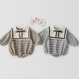 petit main - 韓国子供服 チェックロンパース