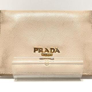 プラダ(PRADA)のプラダ カードケース - ベージュ レザー(名刺入れ/定期入れ)