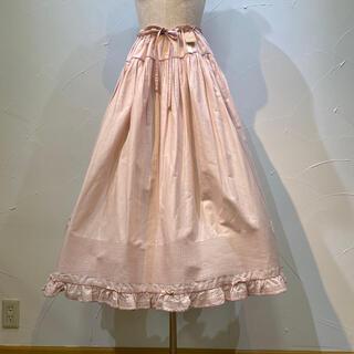PINK HOUSE - ワンダフルワールドくすんだ優しいピンク地ピンタックいっぱいのスカート兼ペチコート