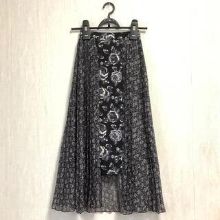 Ameri VINTAGE - CLANE*フローラル プリーツ スカート ブラック*クラネ 花柄 フラワー