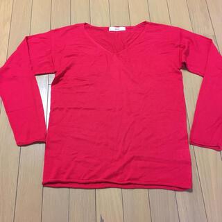 フェリシモ(FELISSIMO)のフェリシモ 朱色の薄手セーター M (ニット/セーター)
