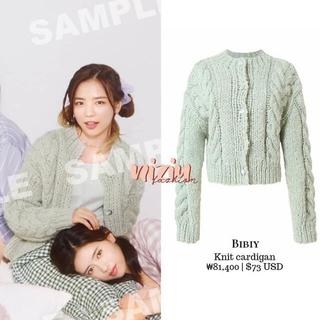 Bibiy. ♡ mint green cable knit cardigan