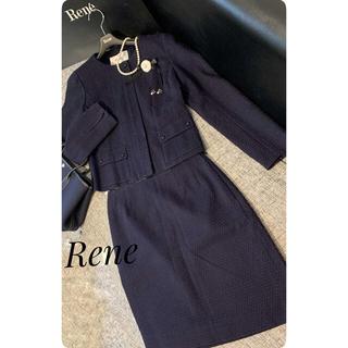 René - ❤︎ルネReneスカート ジャケットスーツセットカメリアブローチ付きネイビー美品