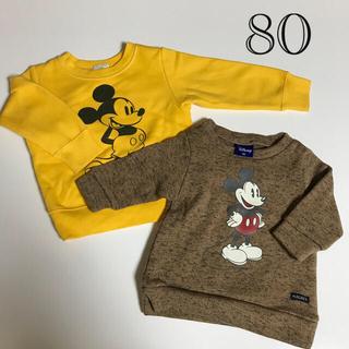 ミッキーマウス - ミッキーマウス厚手トレーナー2着、ズボン3着セット 80