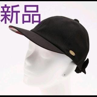 バーバリーブルーレーベル(BURBERRY BLUE LABEL)の【新品未使用】バーバリーブルーレーベルクレストブリッジ リボンキャップ 黒色帽子(キャップ)