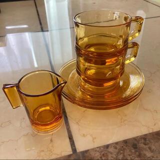 アンバー 食器 カップ&ソーサー 2客 ミルクピッチャー