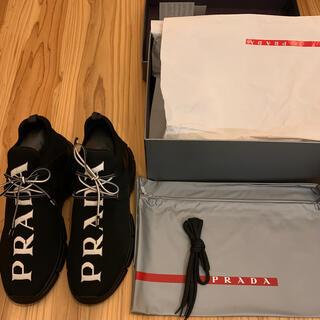 プラダ(PRADA)の新品未使用 PLADA プラダ ニット ロゴ スニーカー ブラック 28cm(スニーカー)