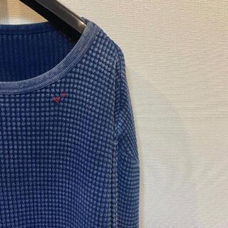 ポーター(PORTER)の刺し子 クルーネック 剣道 フレンチサーマル XL ブルー(Tシャツ/カットソー(七分/長袖))