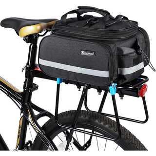 自転車 リアバッグ 拡張可能 ブラック 大容量 【088】(バッグ)