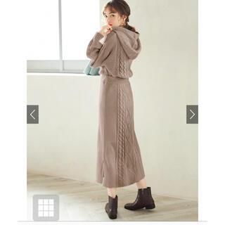 GRL - 【美品】GRL ベージュケーブル編みニットスカート