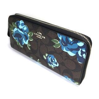 COACH - コーチ COACHシグネチャーブラウンに華やかな青いバラが美しい長財布ジップ