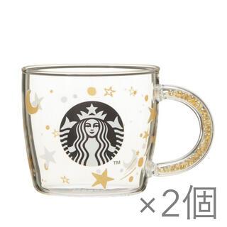 Starbucks Coffee - スターバックス 2020ホリデー ビーズハンドル耐熱グラスマグスター 2個セット