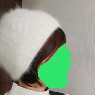 マウジー(moussy)のmoussyマウジー 白ホワイト ニット帽子(ニット帽/ビーニー)