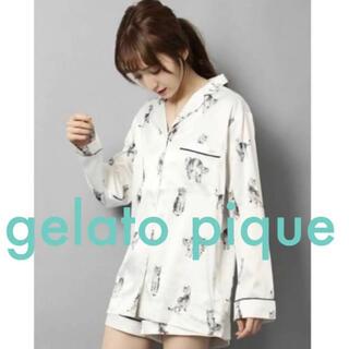 gelato pique - 【新品】ジェラートピケ キャットモチーフサテンシャツ【猫モチーフ パジャマ】