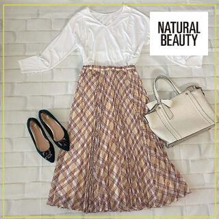 ナチュラルビューティーベーシック(NATURAL BEAUTY BASIC)のナチュラルビューティベーシック タータンチェックプリーツスカート/Mサイズ(ひざ丈スカート)