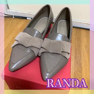 ランダ(RANDA)のRANDA☆ベロアリボンフラットシューズ(バレエシューズ)