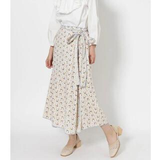 メリージェニー(merry jenny)のmerry jenny flowerパイピングラップスカート(ホワイト)(ロングスカート)