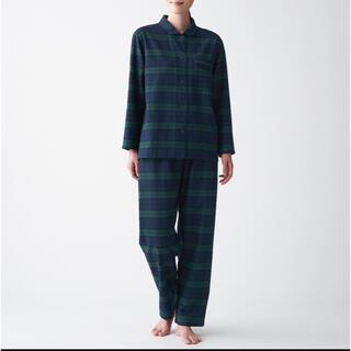 MUJI (無印良品) - 脇に縫い目のない フランネルパジャマ S ~ M ダークグリーン×柄